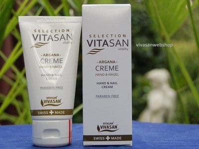 Argana Hand- und Nagelcreme von Vivasan ist eine pflegende, nicht fettende Hand- und Nagelcreme mit Arganöl, Mandelöl, Hamamelis, Vitamin E und Provitamin B5.