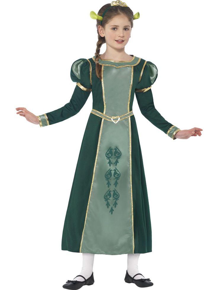 Prinsessa Fiona. Prinsessa Fionan naamiaisasun vihreä mekko on juhlava ja alkuperäisen mukainen. Hahmolle tyypilliset korvat ja hieno tiara kruunaavat naamiaisasun.