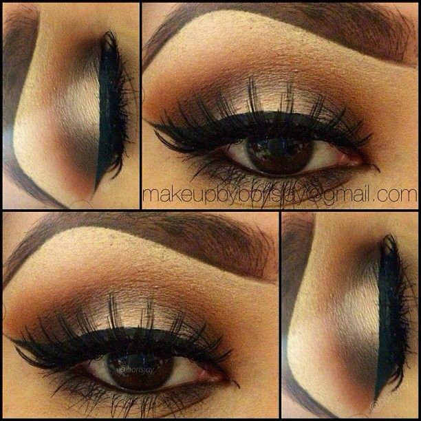 Using all Mac Eyeshadows; Steps as follow:: 1.) above crease apply SOFT BROWN all the way up to the brow bone; then followed by TEXTURE 2.) In the crease place BROWN SCRIPT and in the outer and inner corner some EMBARK & BROWN DOWN-the center lid color is GRAIN. (She recommends these colors as a must have for any collection) 3.) the Eyelashes are Redcherry #62 4.) also using NYC liquid liner.