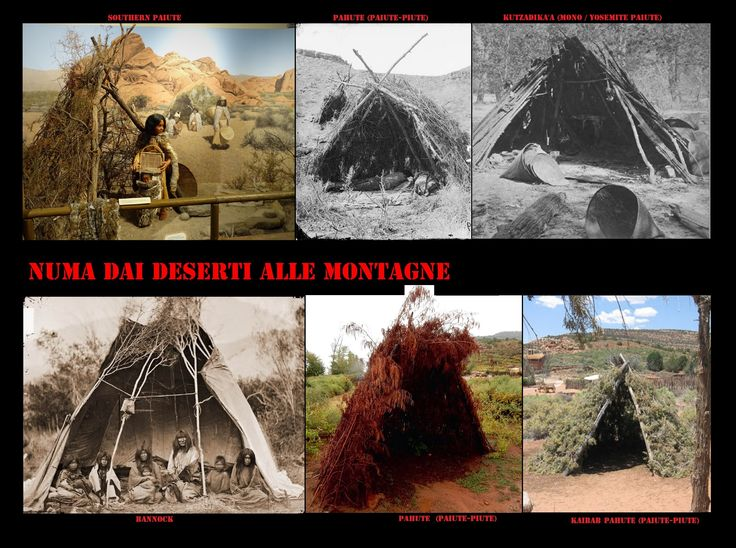 Le popolazioni numiche più occidentali, come i Pahute (Pah-ute, Piute, Paiute, Paiute meridionali), Goshute, Shoshone occidentali, Timbisha (Koso, Panamint), Mono (Owens Valley Paiute) (Mono Lake Paiute), Paviotso (Paiute del Nord, Numu), erano estremamente mobili, rimanevano, spesso, poche settimane in uno stesso accampamento, per cui spesso i loro kahni erano dei rifugi provvisori per difendersi dal sole e dal vento della loro arida terra.