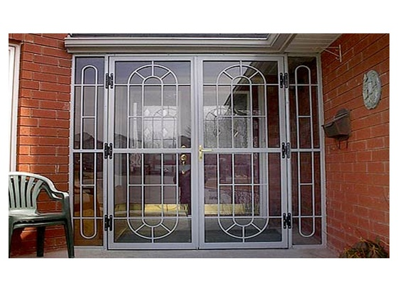 32 best images about door security bars gate and grilles for Decorative storm doors with screens