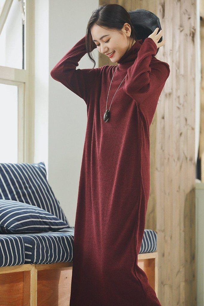Turtleneck Wool Maxi Loose Woolen Dresses For Womens Pullover Long Sweater  Dress in Autumn Winter Q2491 d3f8d178a730