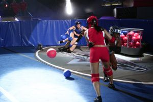 """The """"Power Ball"""" competition on American Gladiators. Courtesy NBC"""