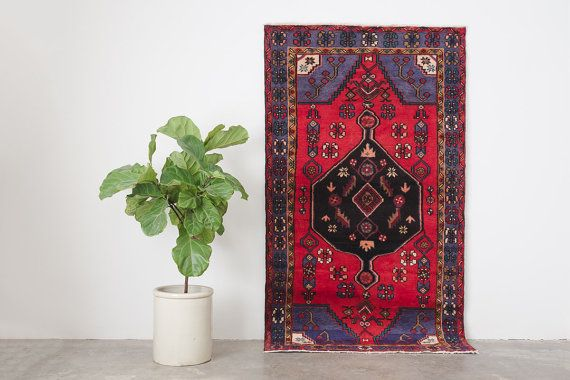name: Turan style: hand knotted, Persian, rug, carpet material: wool color: red, blue, purple, black, cream, pink, brown, gray, teal age: vintage condition: good, age related wear  48 x 86 (closest standard rug size is 4x7)   Please see pictures for detailed condition. There are more photos of this product available on our website HomesteadSeattle.com  We ship nationwide. Please contact us if youd like a more exact or combined shipping quote.