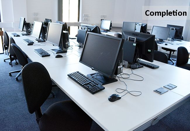 Modern Computer Facilities in Refurbished Classroom www.rapinteriors.com Photography by RAP Interiors