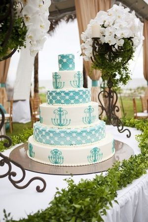 tiffany blue and white wedding cake