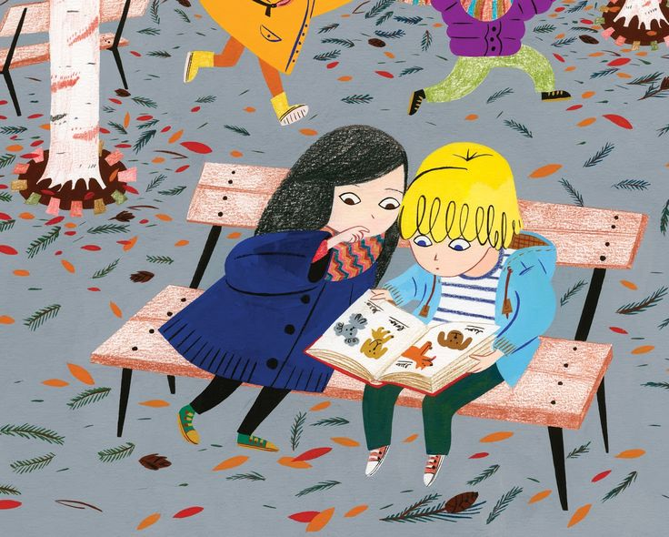 """Sharing a good book. From  """"Les belles histoires"""" by Alexandra Huard"""