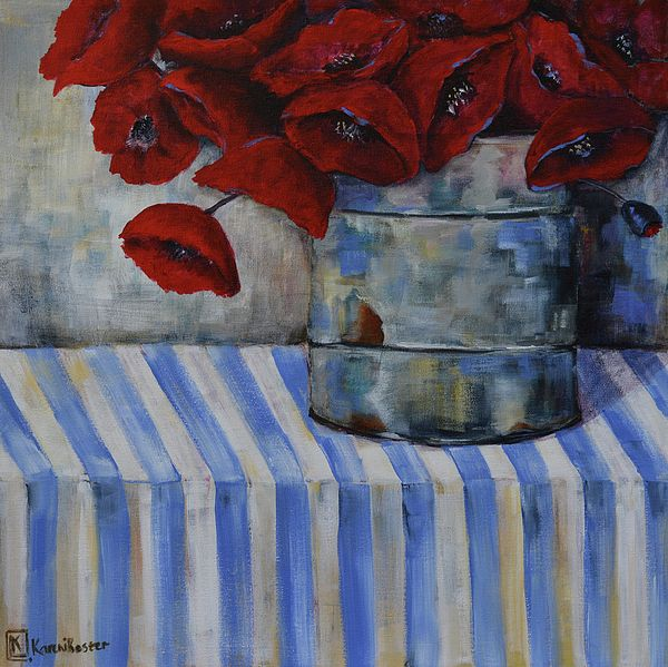 Acrylic painting of Red Poppies in a tin on a blue and white table cloth. Floral still life by South African artist Kareni Bester. Original is sold.
