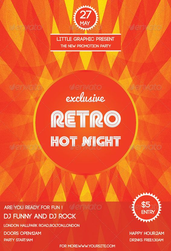 21 best Vintage \ Retro for Event \ Party Flyer Templates images - retro flyer template