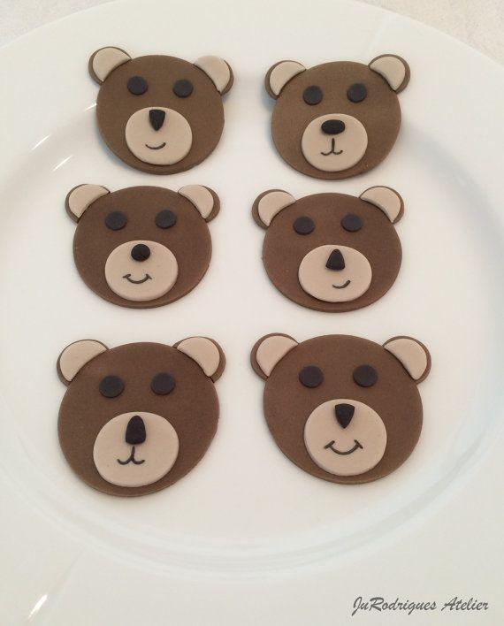 Teddy Bear Fondant Cupcake Edible Topper by JuRodriguesAtelier