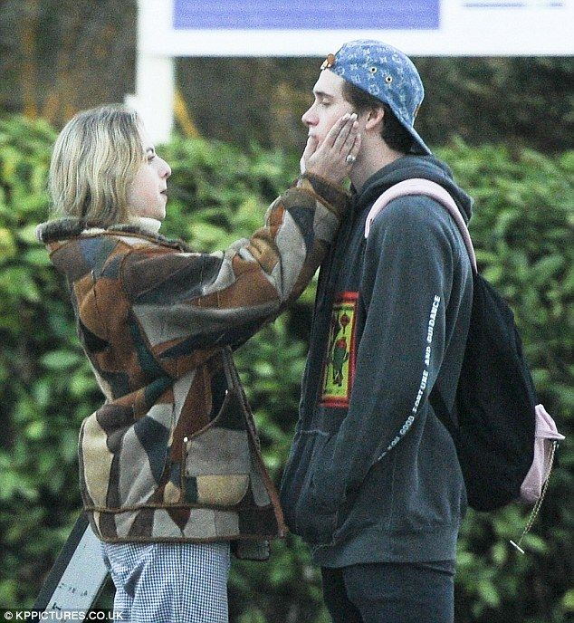 In high spirits: Brooklyn Beckham appeared in high spirits as he spent time with Anais Gallagher, the daughter of rock legend Noel, in London on Tuesday