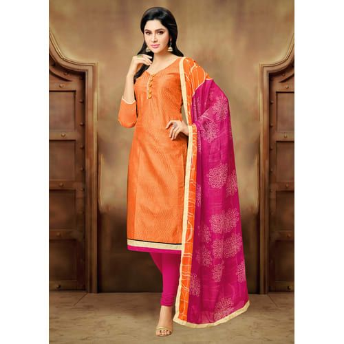 Craftsvilla Orange Plain Chanderi Smart Casual Chudidar Solid Unstitched Dress Material With Matching Dupatta
