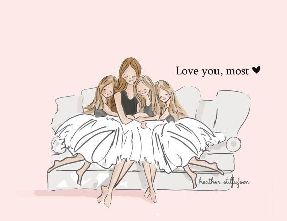 Mom and Daughter Art  Love You Most with von RoseHillDesignStudio