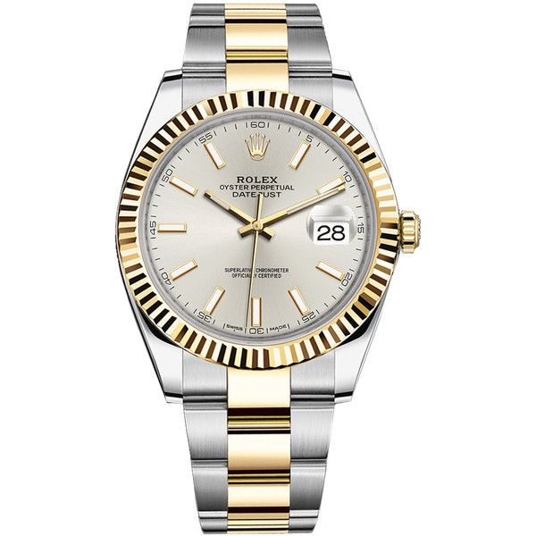 Rolex Datejust 41mm Steel and Yellow Gold 126333 Silver Index Oyster... (€10.040) ❤ liked on Polyvore featuring men's fashion, men's jewelry, men's watches, stainless steel, mens silver watches, stainless steel mens watches, mens gold and silver watches, rolex mens watches and mens gold watches