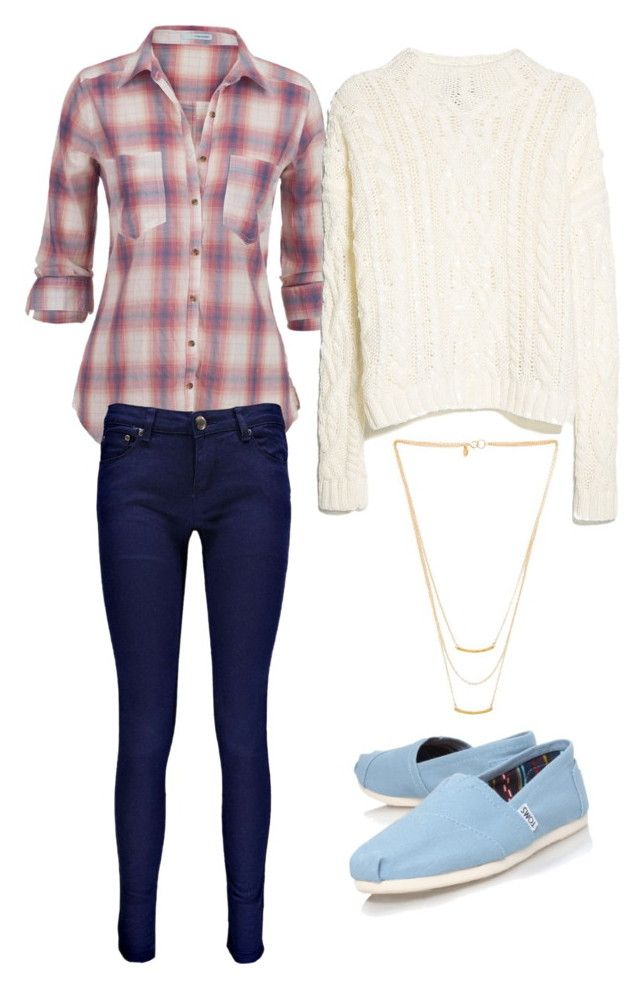 April Ludgate Inspired #1 by rivkidash on Polyvore featuring MANGO, maurices, Boohoo, TOMS and Gorjana
