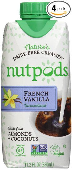 nutpods Unsweetened Natural non dairy creamer for coffee - made of coconut and almonds. ALL NATURAL! sugar free.