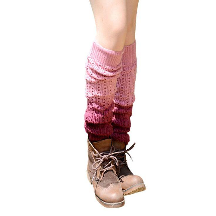 Leg Warmer Women Gradient Color Patchwork Women Crochet Over Knee Sock Calentadores Piernas Mujer #2828
