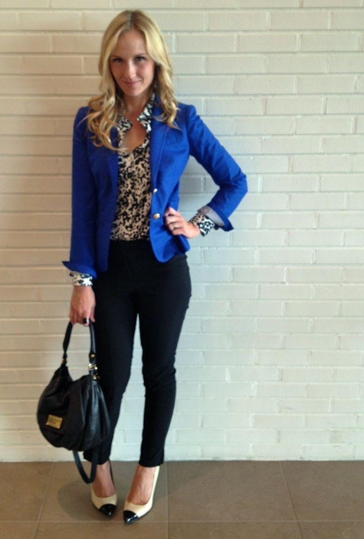 royal blue blazer work outfits