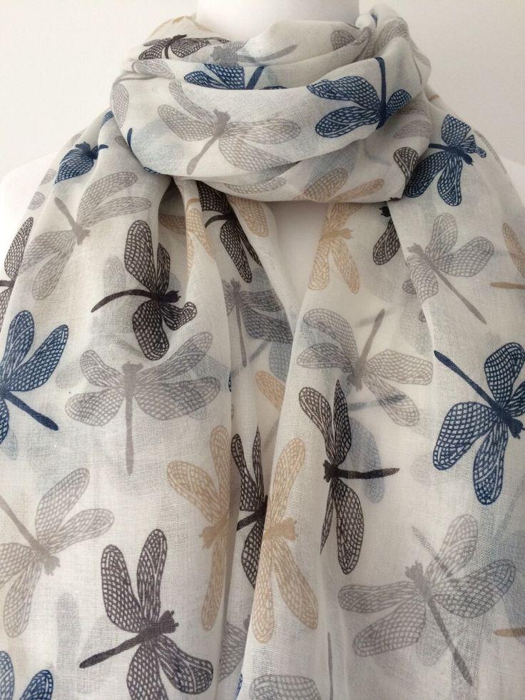 Cream Dragonfly Scarf, Ivory Wrap Shawl, Dragonfly Print Scarf, Blue and Black Dragonflys Sarong by purplepossumuk on Etsy https://www.etsy.com/listing/220681871/cream-dragonfly-scarf-ivory-wrap-shawl