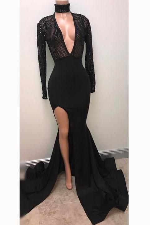 67102567649b7 Browse Our Large Selection of Prom Dresses,Fabulous Black Deep V-neck Long  Sleeve Prom Dresses 2018 Split Sexy Evening Gown at Simibridaldresses.com