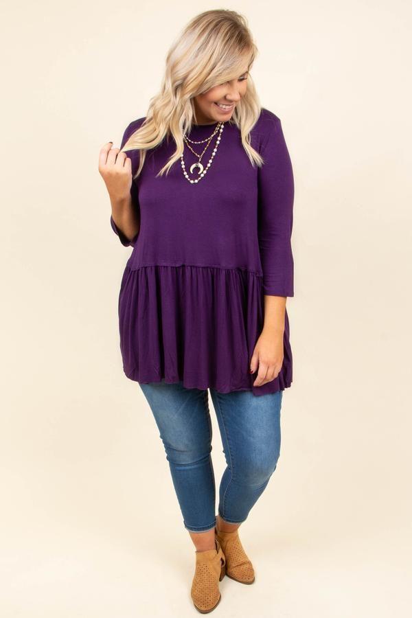 61a4445526c No More Drama Tunic, Dark Purple | Fashion | Blouse styles, Tunic ...