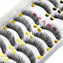 10 Pares de Algodão Stalk Extensão Dos Cílios Longos e Grossos Cílios Postiços Maquiagem Preto Falso Lashes Eye Makeup alishoppbrasil