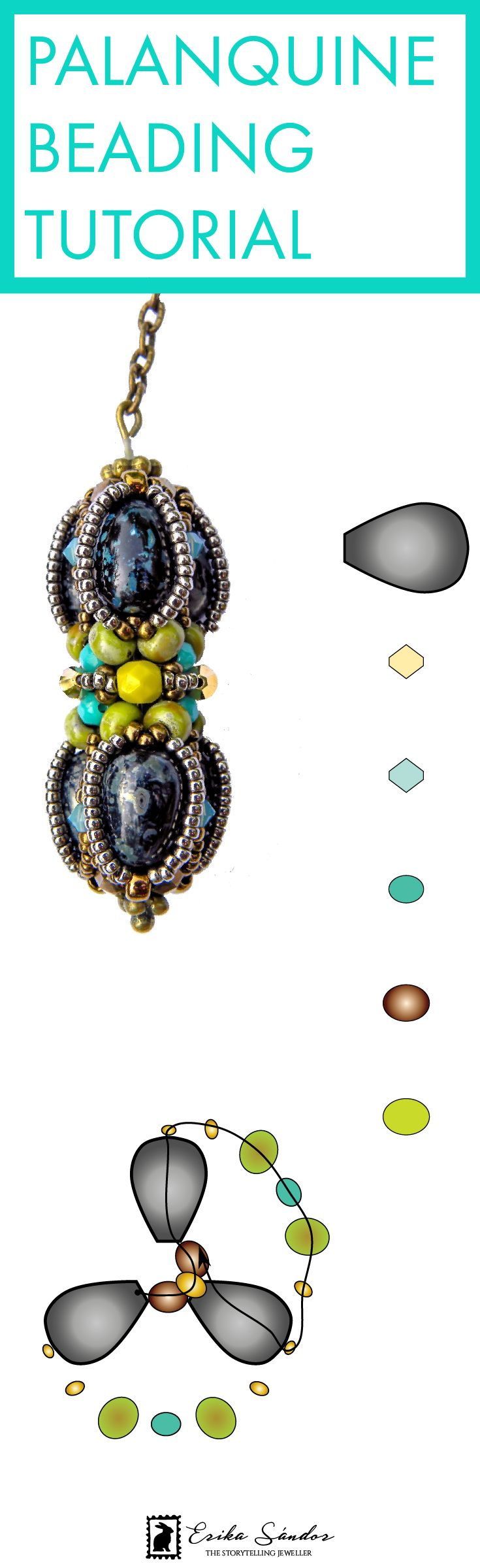 How to make a beaded bead? Beading tutorial / instructions / pattern / schema for the Palanquine beaded bead designed by Erika Sandor The Storytelling Jeweller. Beads: Czech glass drop beads, Miyuki Japanese seed beads, fire polished beads, Swarovski bicones, chain. Black, green, turquoise, avocado green necklace or earrings. Made in Amsterdam. Learn beading / beadweaving.