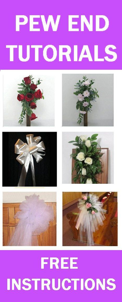 Wedding Pew Decorations - Easy Step-by-Step Free Flower Tutorials  Learn how to make bridal bouquets, wedding corsages, groom boutonnieres, church decorations and reception table centerpieces.  Buy wholesale flowers and discount florist supplies.