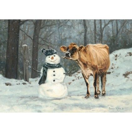 Well Hello There By Bonnie Mohr Cow Kissing Snowman Winter Snow Framed Art  Print Wall Du0026eacute;