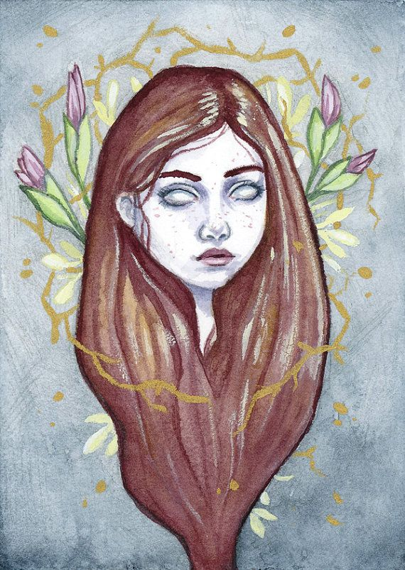 Original watercolor and gouache ACEO by EllenWilberg on Etsy
