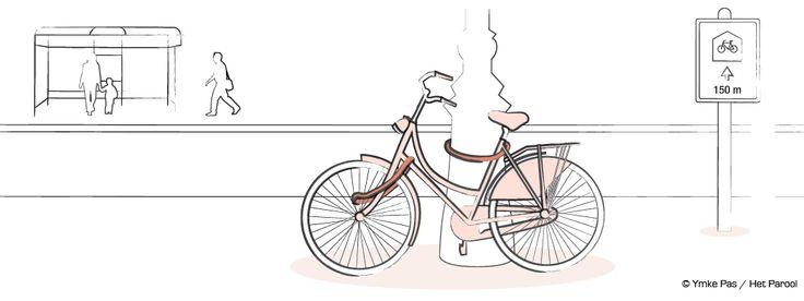 Parool,fiets, bike, illustratie, illustration, slot, lock, lantaarnpaal, bushalte, Ymke Pas