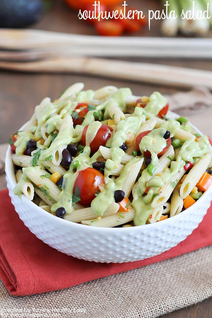 Southwestern Pasta Salad! A delicious addition to a potluck, picnic or just as a side dish. Your family will love this!