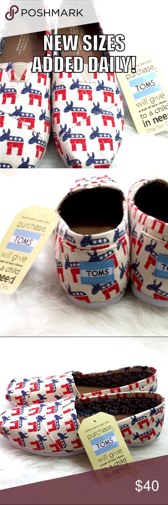 "🇺🇸 TOMS DEMOCRATIC DONKEY slip on loafers! GET 'EM WHILE THEY'RE HOT! Wear your always fashionable registration on your feet with these vegan leather limited edition Election Day TOMS. USA red, white & blue Democratic Donkeys flaunt your political style and will pair perfectly with any pant, top, skirt, jogger or styrofoam voter hat in your closet. Inside chambray lining uplifts our right with ""Step out & Vote."" Encourage others! Get em to the poles! Wear that sticker! Regardless of…"
