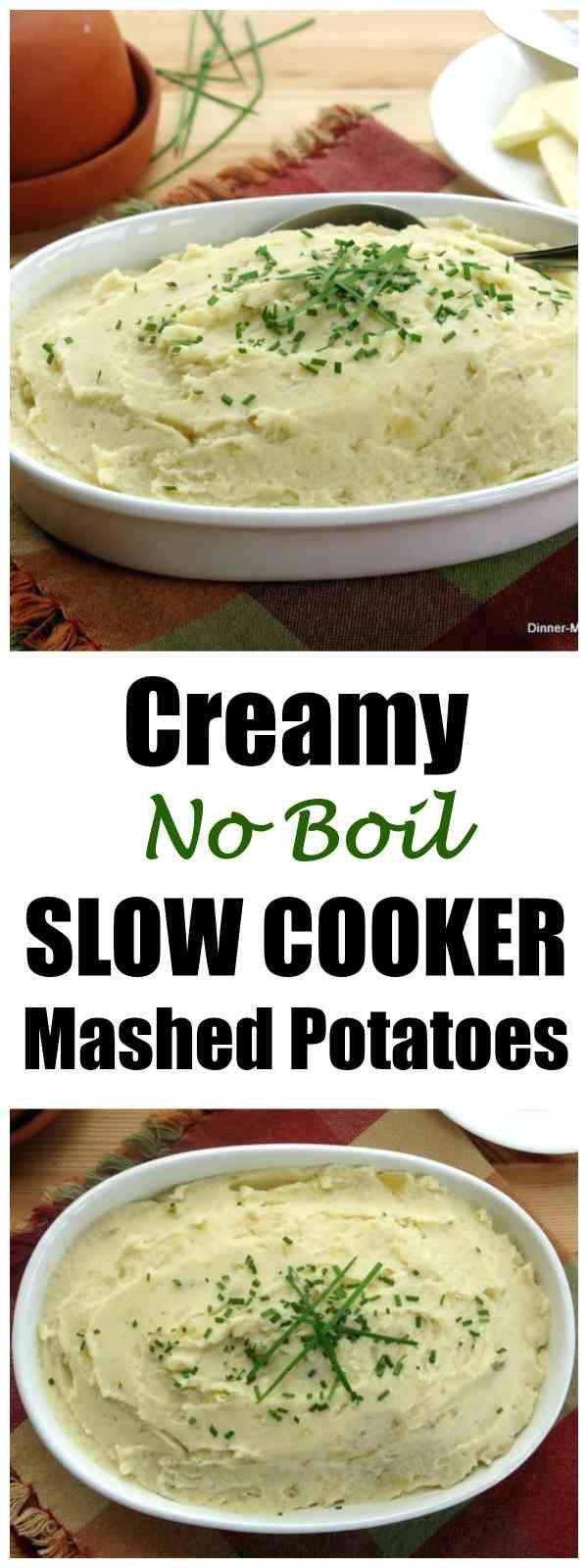 Crockpot Mashed Potatoes for a Crowd with cream cheese. GAME CHANGER - No boiling and one pot to clean! Make ahead and freeze too! #mashedpotatoes