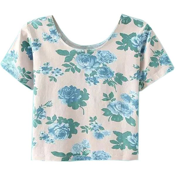 WithChic Beige Floral Short Sleeve Tight Crop T-shirt (22 CAD) ❤ liked on Polyvore featuring tops, shirts, short sleeve tops, floral tee, short tops, floral top and floral print tee