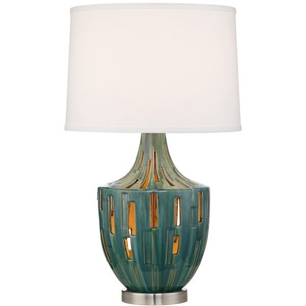 Possini Euro Will Teal Blue Ceramic Nightlight Table Lamp ($100) ❤ Liked On  Polyvore Featuring Home, Lighting, Table Lamps, Beige, Cream Table Lamps,  Beige ...