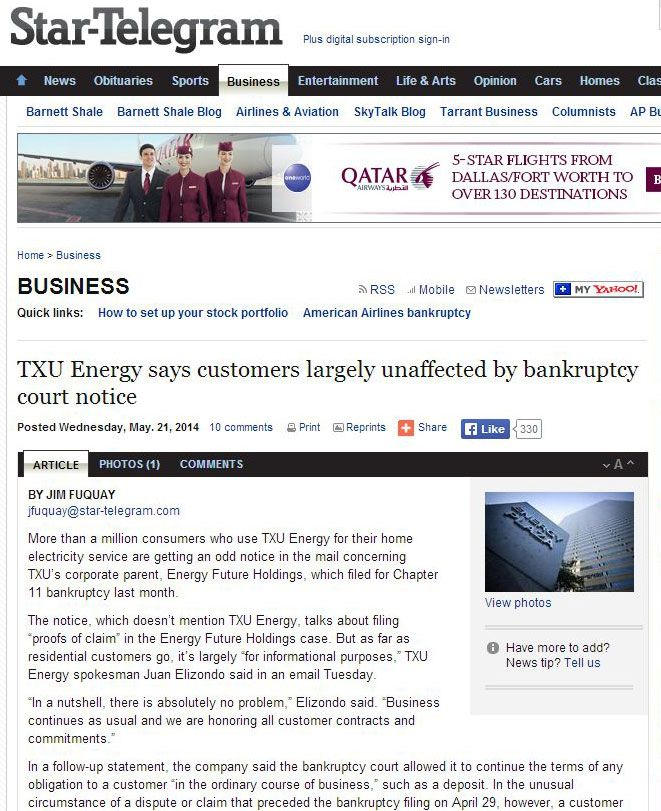 TXU Energy says customers largely unaffected by bankruptcy court notice - headline from Star Telegram in May 2014 -  BackUp Generator installation by Dallas Landscape Lighting give us peace of mind while the major power companies file for bankruptcy and the future of the power grid is yet to be determined.