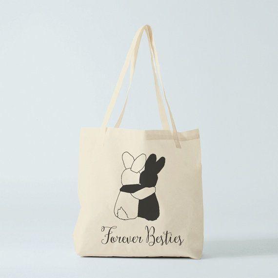 Tote bag Besties Forever cabas coton, cadeau meilleures amies.
