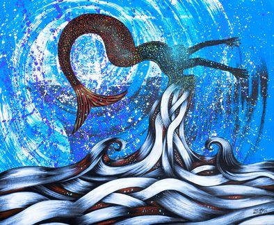 Tipo de Obra: pintura em acrílica sobre MDF / Autor: Carlinhos Müller / Ano: 2015 / Série: Submerso / Título da obra: Sereia / Descrição: As estripulias da senhorita sereia. / Tiragem: 50