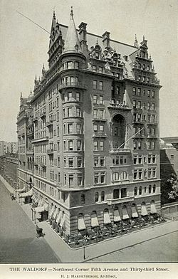Waldorf Astoria New York -- shortly after opening in 1893 (March).
