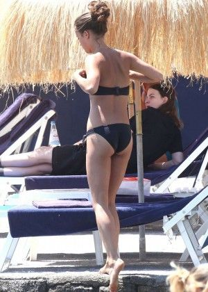 Alicia Vikander in Black Bikini in Ischia