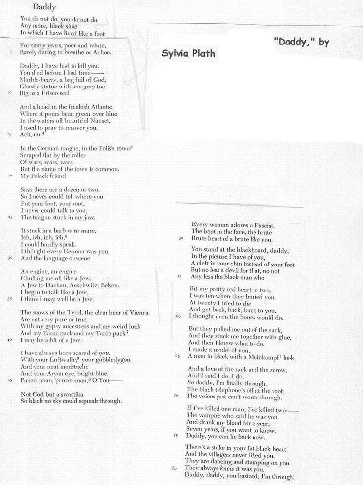 """""""Daddy"""" by Sylvia Plath."""