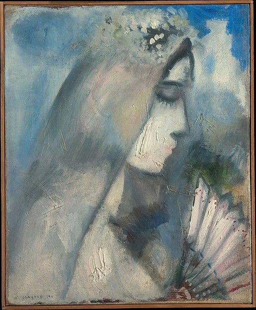 Bride with fan marc chagall french vitebsk 1887 1985 for Chagall st paul de vence