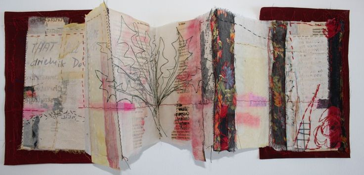 Dandelion Roots by Cas Holmes - folding bok form with covers made from red waste paper and http://www.casholmestextiles.co.uk/ #artists_book #Mixed_media