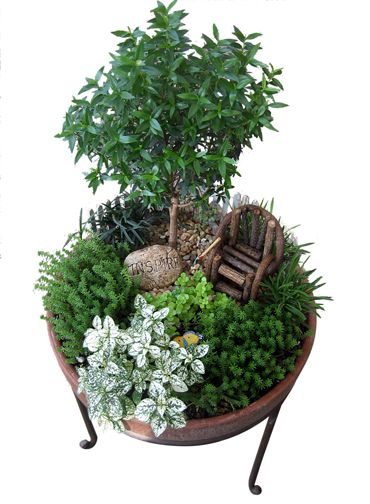 Pot stand...with a miniature garden! How adorable!