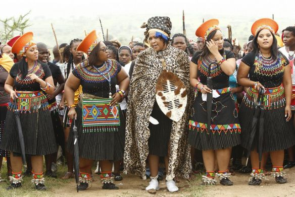 Tobeka Madiba arrives with her bride maids during her traditional wedding to South African President Zuma in northern KwaZulu-Natal