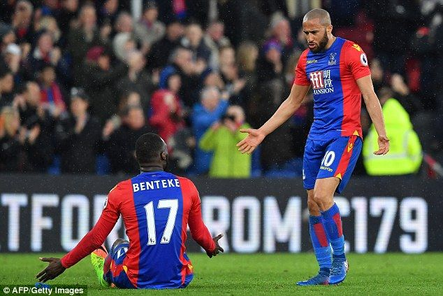 Crystal Palace team-mates Christian Benteke and Andros Townsend were involved in a furious confrontation after the full-time whistle. Despite securing
