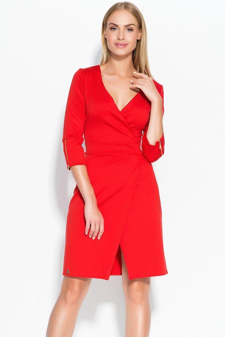 Sukienka Makadamia M315 - czerwony Stylowa sukienka damska: ...  https://www.mega-ciuchy.pl/sukienka_makadamia_m315_czerwony