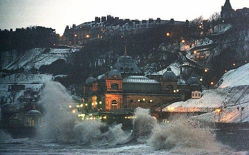 Scarborough Spa battered by waves