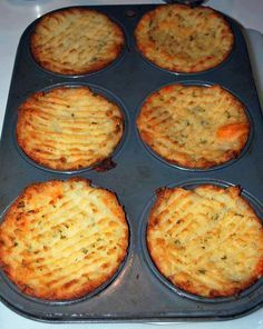 Mash potatoes plain with butter or add ingredients like cooked bacon, cheese, parsley, green onion, garlic. Stuff in to a greased muffin tin, run a fork along the top and brush with melted butter or olive oil. Bake at 375 degrees or until tops are crispy and golden.